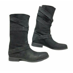 Eileen Fisher Black Nubuck Leather Strappy Boots
